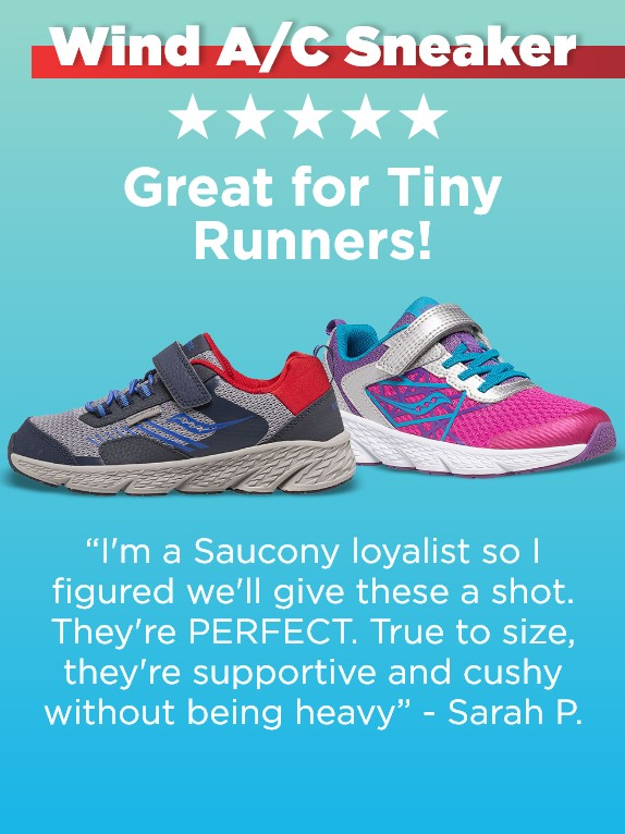 A pair of Saucony Wind A/C kids sneakers with a review.
