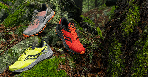 Three Saucony trail shoes.