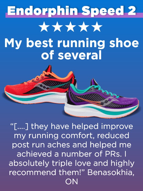 A pair of Saucony Endorphin Speed 2 running shoes with a review.