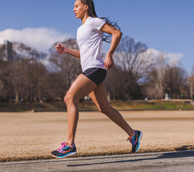 Solo runner is going for distance; they're going for speed; they're all alone.