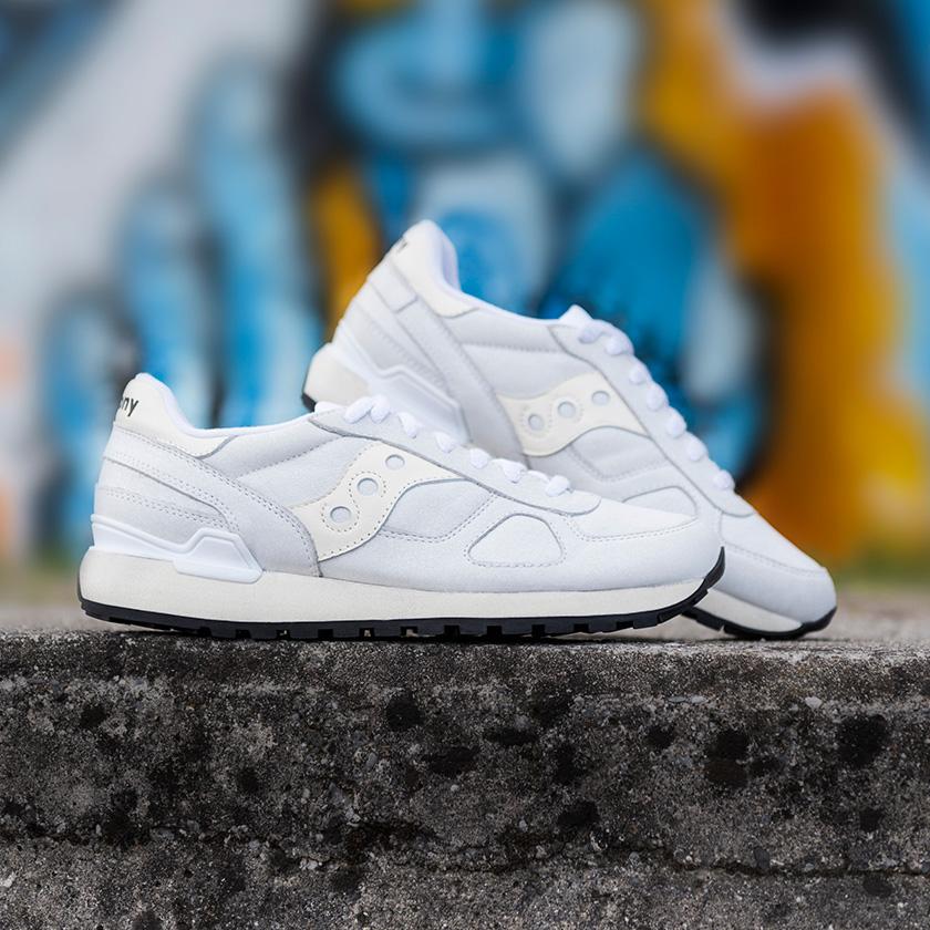 A pair of white Saucony Originals Shoes.