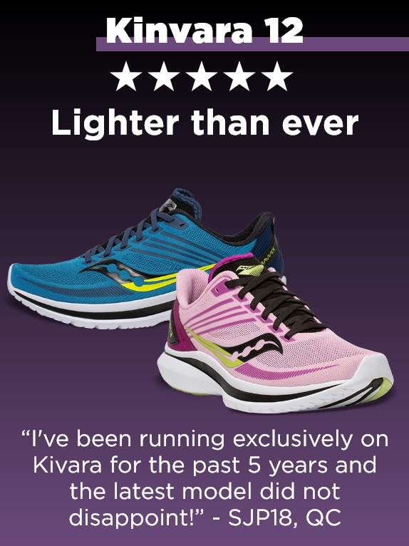 A pair of Saucony Kinvara running shoes with a review.