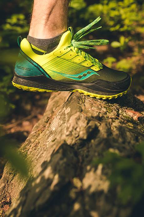 Max River Shoe in green/blue on a rock