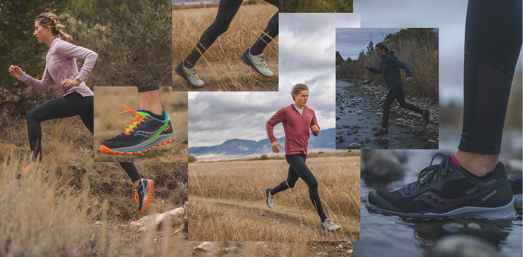 A collage of runners and their shoes hitting trails in open fields.