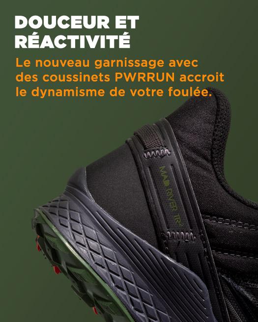 DOUCEUR ET RÉACTIVITÉ, Le nouveau garnissage avec des coussinets PWRRUN accroit le dynamisme de votre foulée.