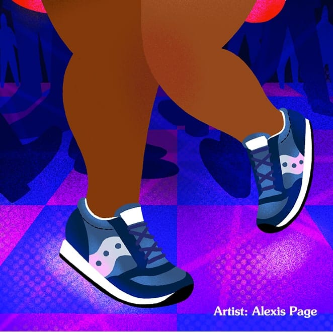 Drawing of person dancing wearing Saucony Jazz shoes.
