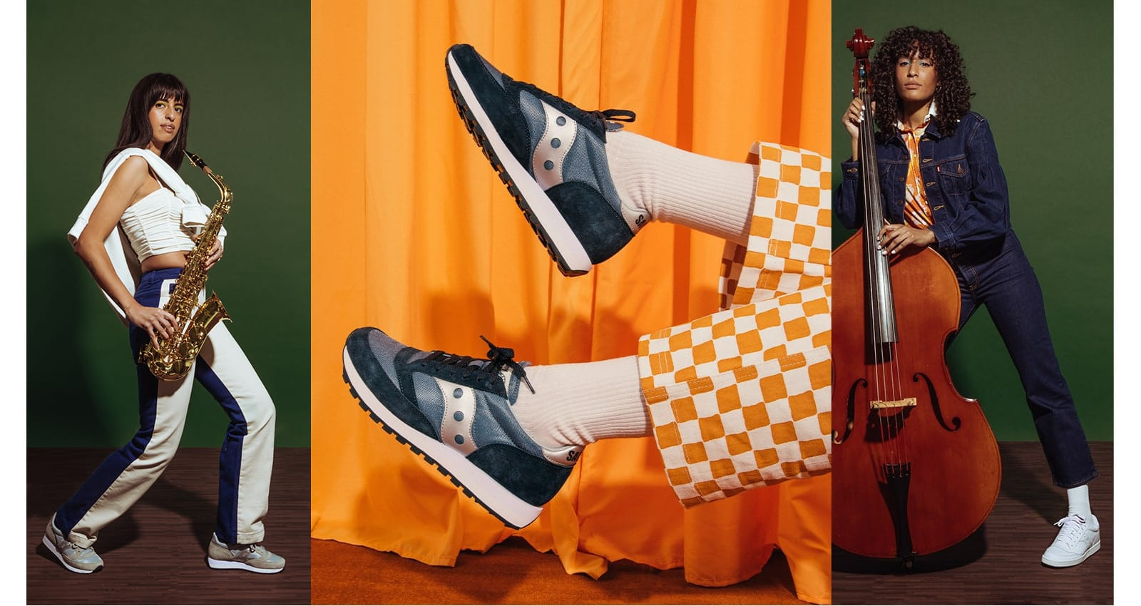 A colorful collage of band members wearing Saucony Jazz shoes.