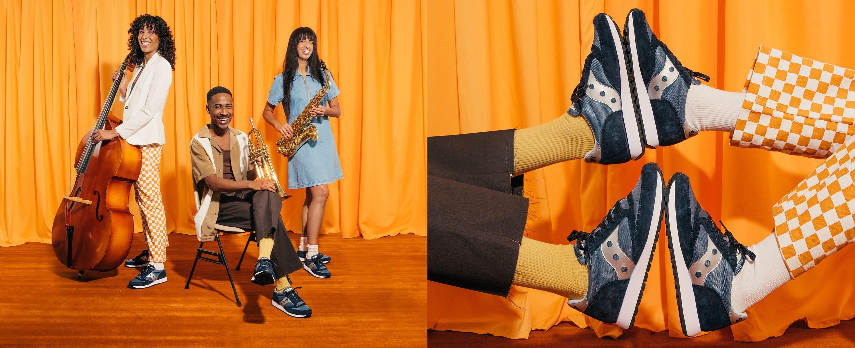 Festive orange outfits and blue Saucony Originals.