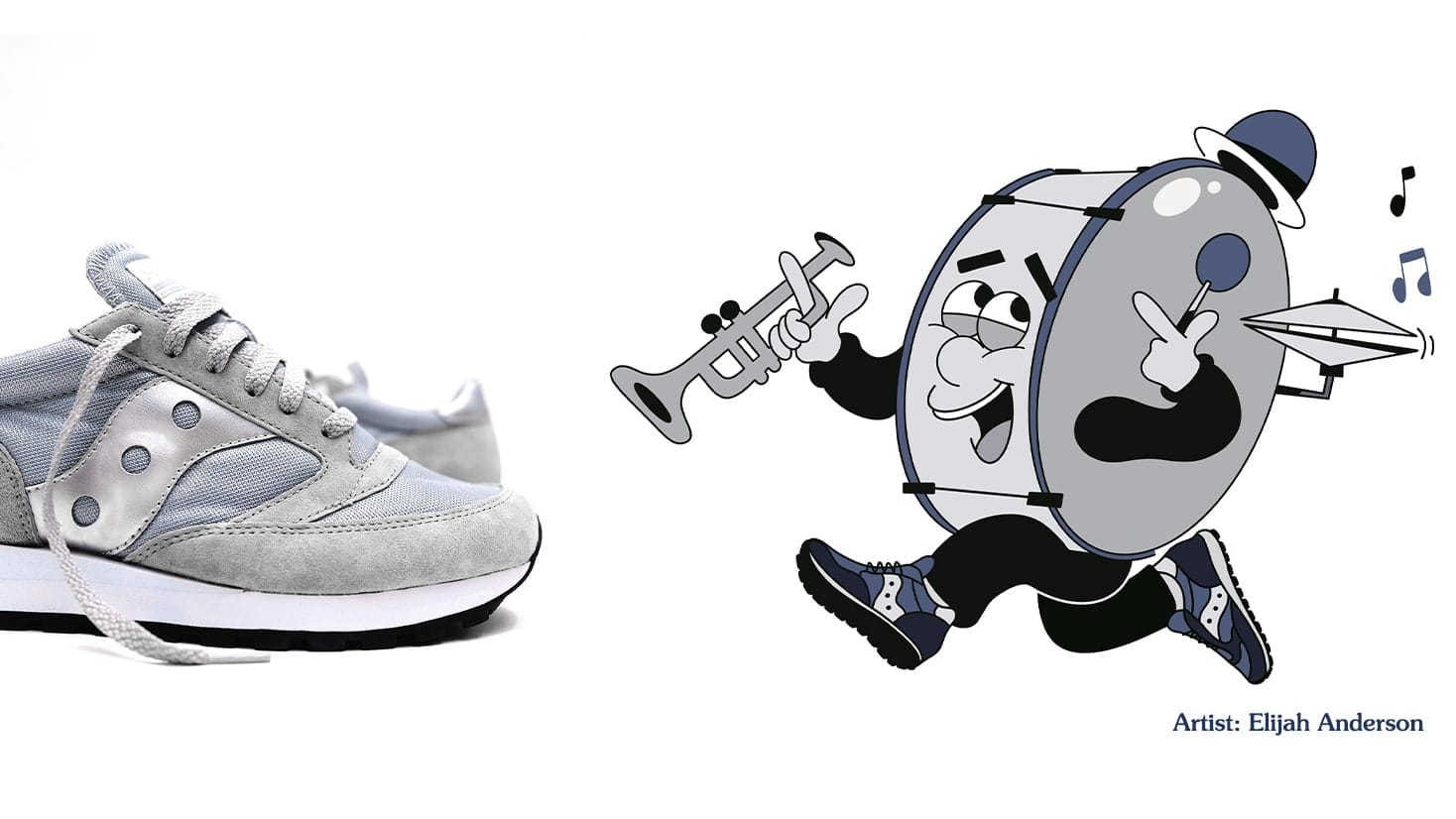 Jazz band animation drawing and Suacony Jazz shoe.