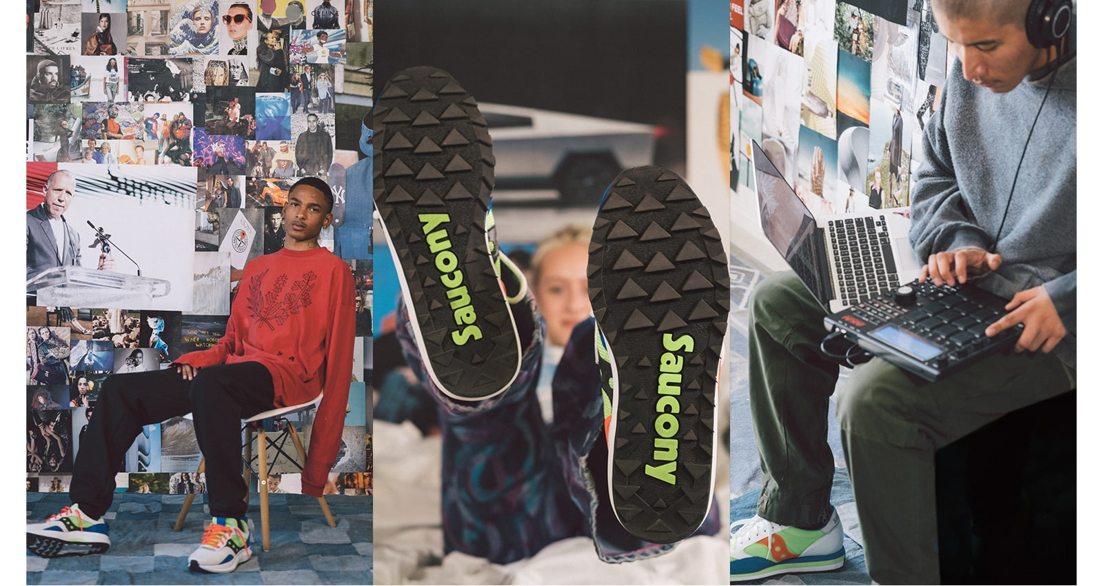 3 images of people wearing the Saucony Abstract Jazz shoes.