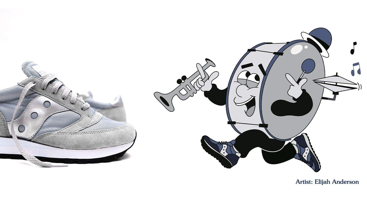 Jazz band animation drawing and Suacony Jazz shoe.