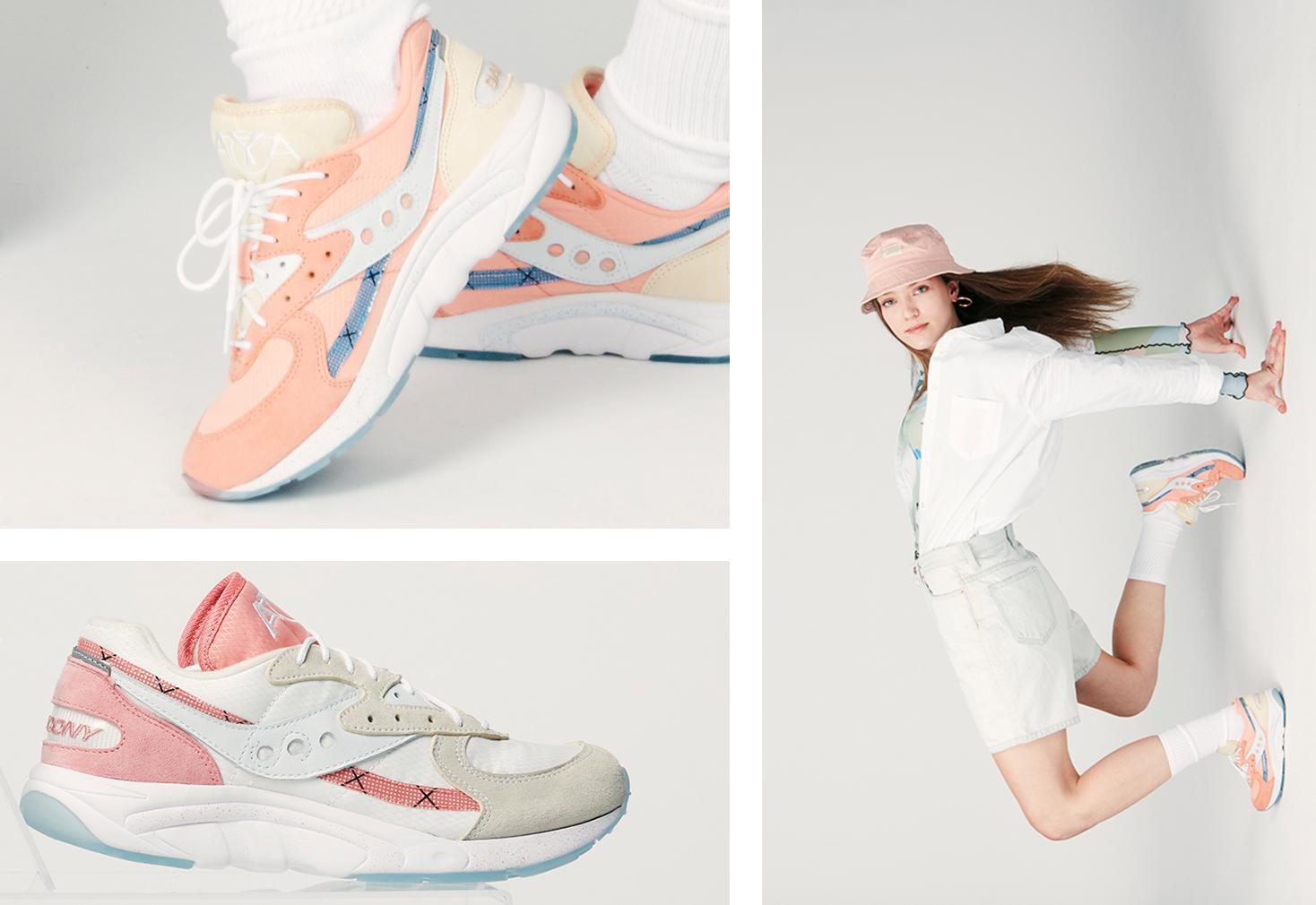 Collage of AYA Peaches + Cream Saucony Originals.