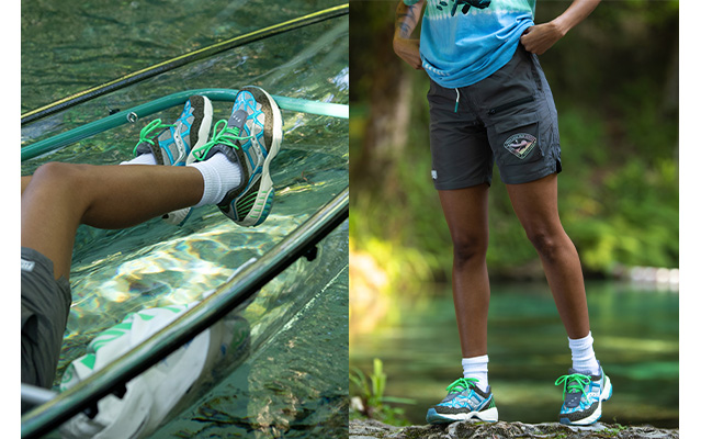 Saucony X Fresh Rags, in a kayaak and in the woods.