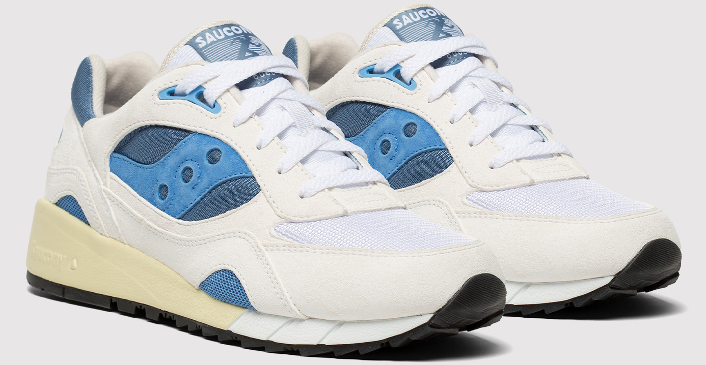 Pair of Shadow 6000 Shoes in White and Blue.