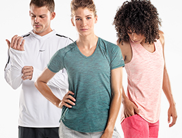 Three people are standing around in some sweet apparel. They're super happy on the inside, but it's belied by their outward stoicism. #toocool.