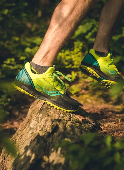 Close up of Saucony trail running shoes