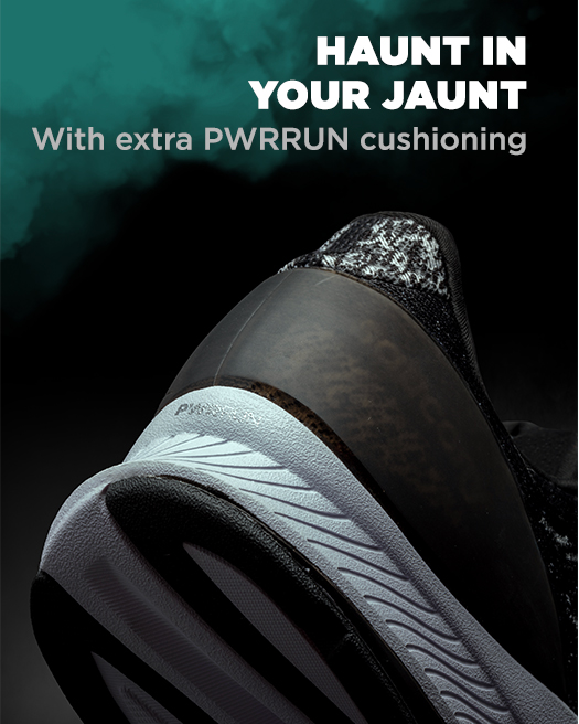 Haunt in your jaunt with extra PWRRUN cushioning.