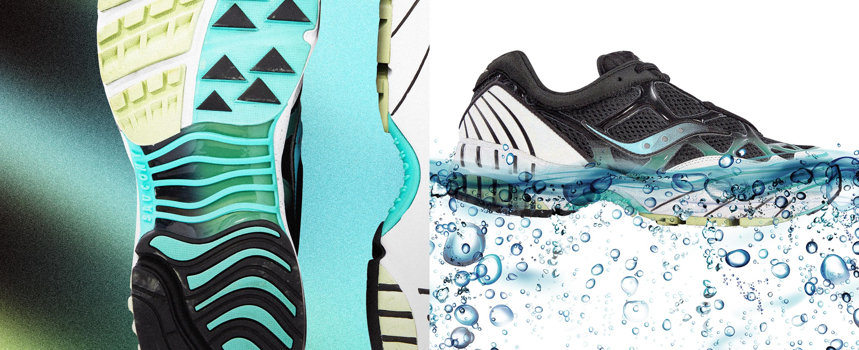 Saucony Grid Black Pearl Shoe Floating in Water.
