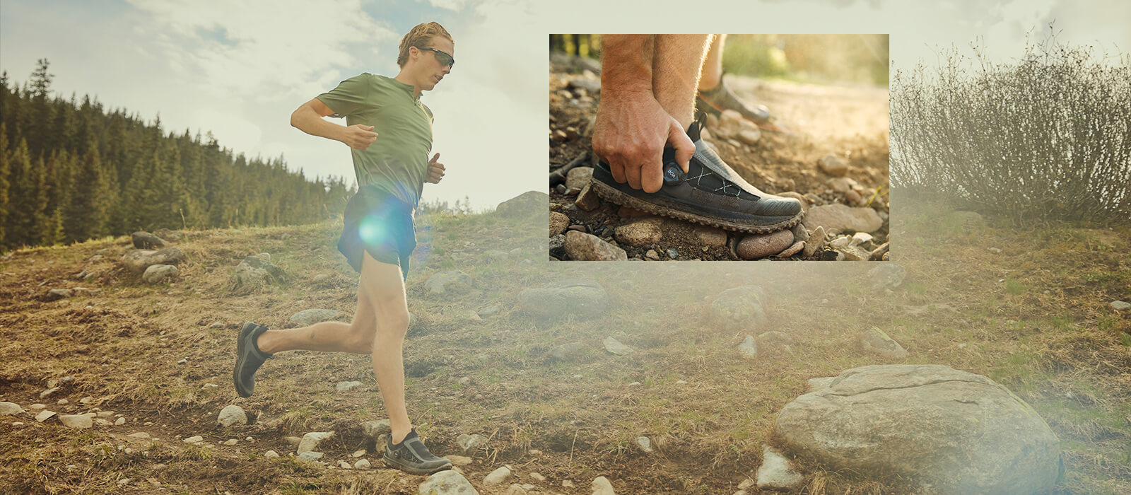 Runner descends a rocky mountain trail wearing Switchback 2s.
