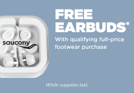 Free earbuds with qualifying full-price footwear purchase.