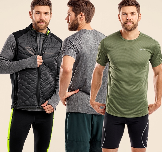 Man posing with new apparel front and back