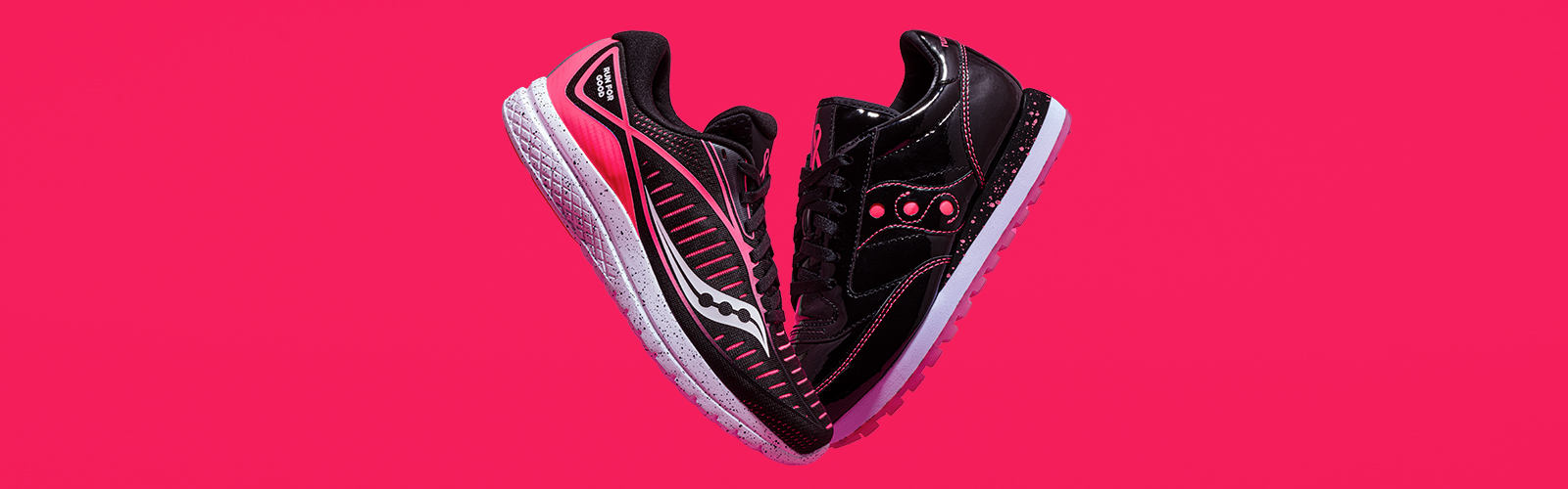 A pink and black Kinvara 10 and Jazz Original from the exclusive With Love Collection.