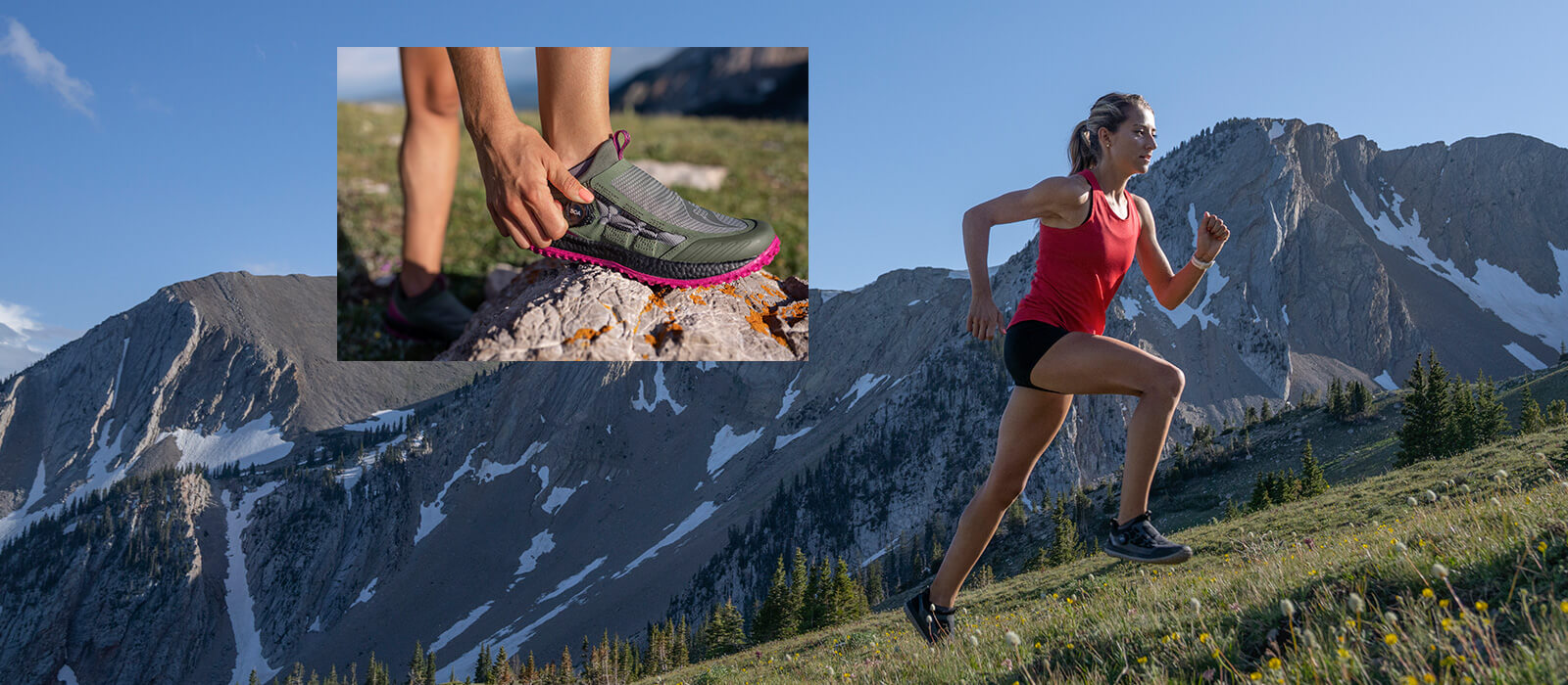 Runner ascends a steep grassy mountain wearing Switchback 2s.