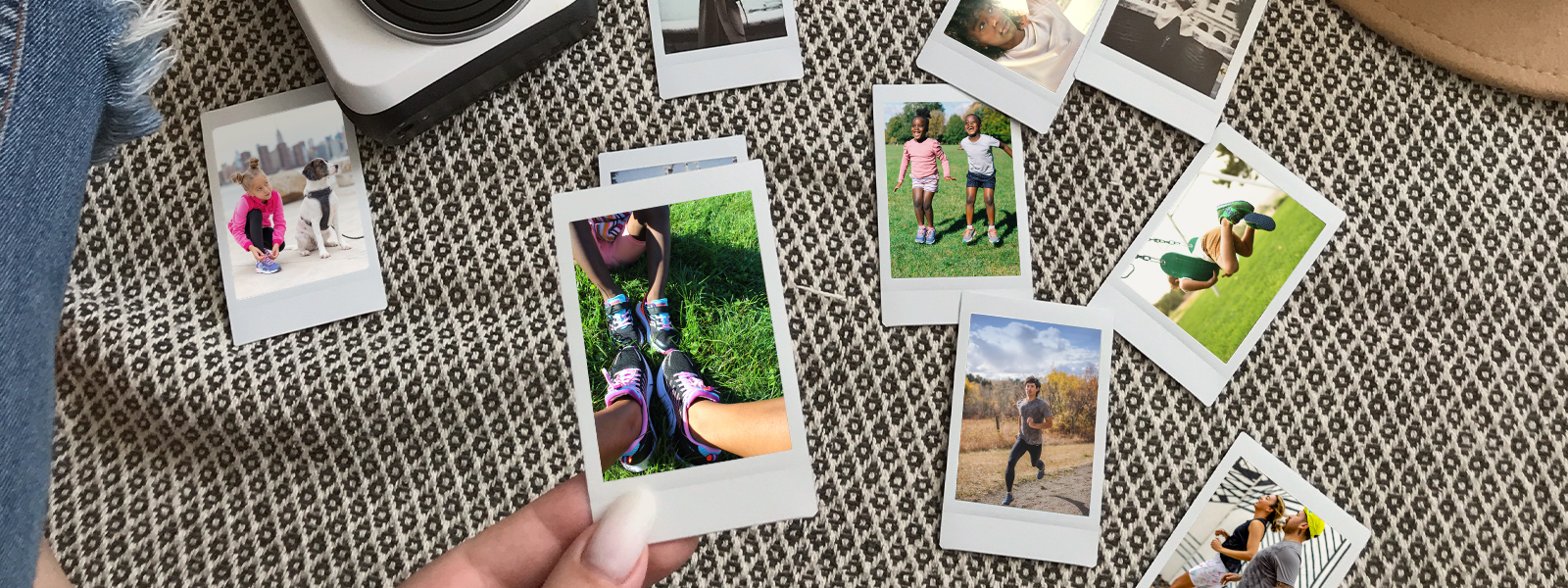 A collection of Polaroids showing family at play and excercising.