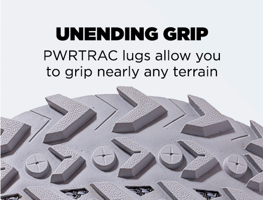Unending Grip. PWRTRAC lugs allow you to grip nearly any terrain.