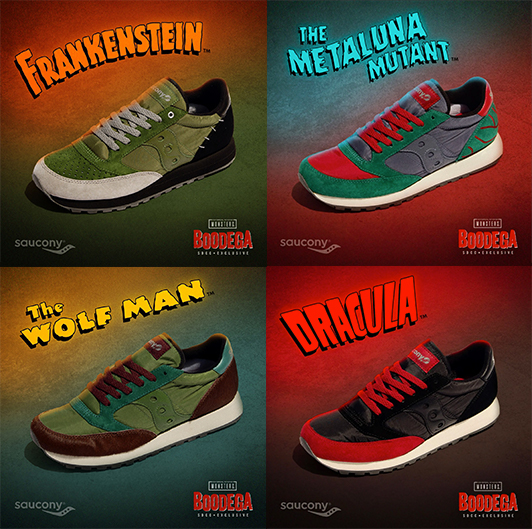 Universal Monsters Jazz shoes with their monsters next to them