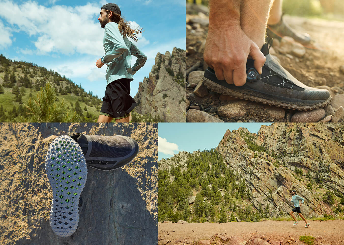 Collage of runners and shoes in nature.