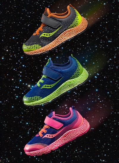 3 Saucony Kids Astrofoam shoes in outer space!