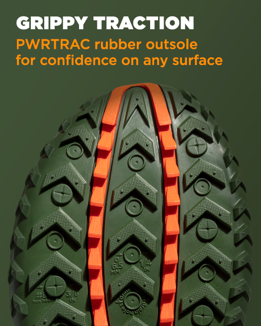 GRIPPY TRACTION, PWRTRAC rubber outsole for confidence on any surface