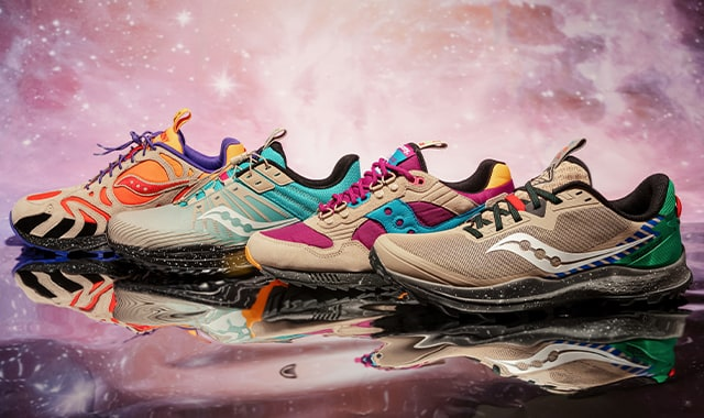 4 Saucony Astrotrail shoes.