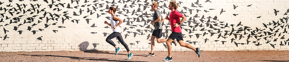 3 people running with art on a brick wall with flying birds.