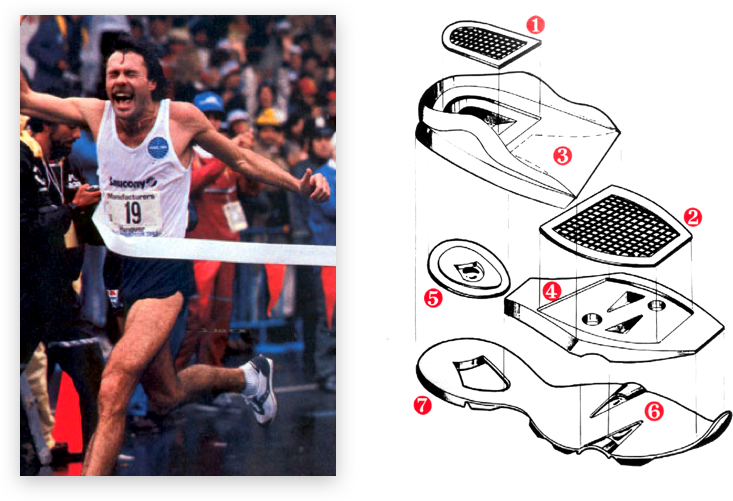 Rod Dixon crossing the finish line and a drawn daiagram of a shoe