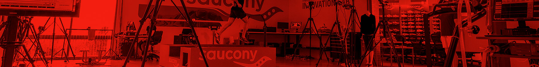 Apply to be a Saucony Product Tester. A man runs on a treadmill in the Saucony Testing Lab.