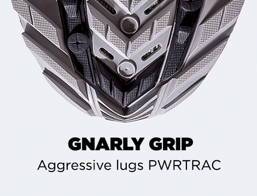 Gnarly Grip. Aggressive lug PWRTRAC.