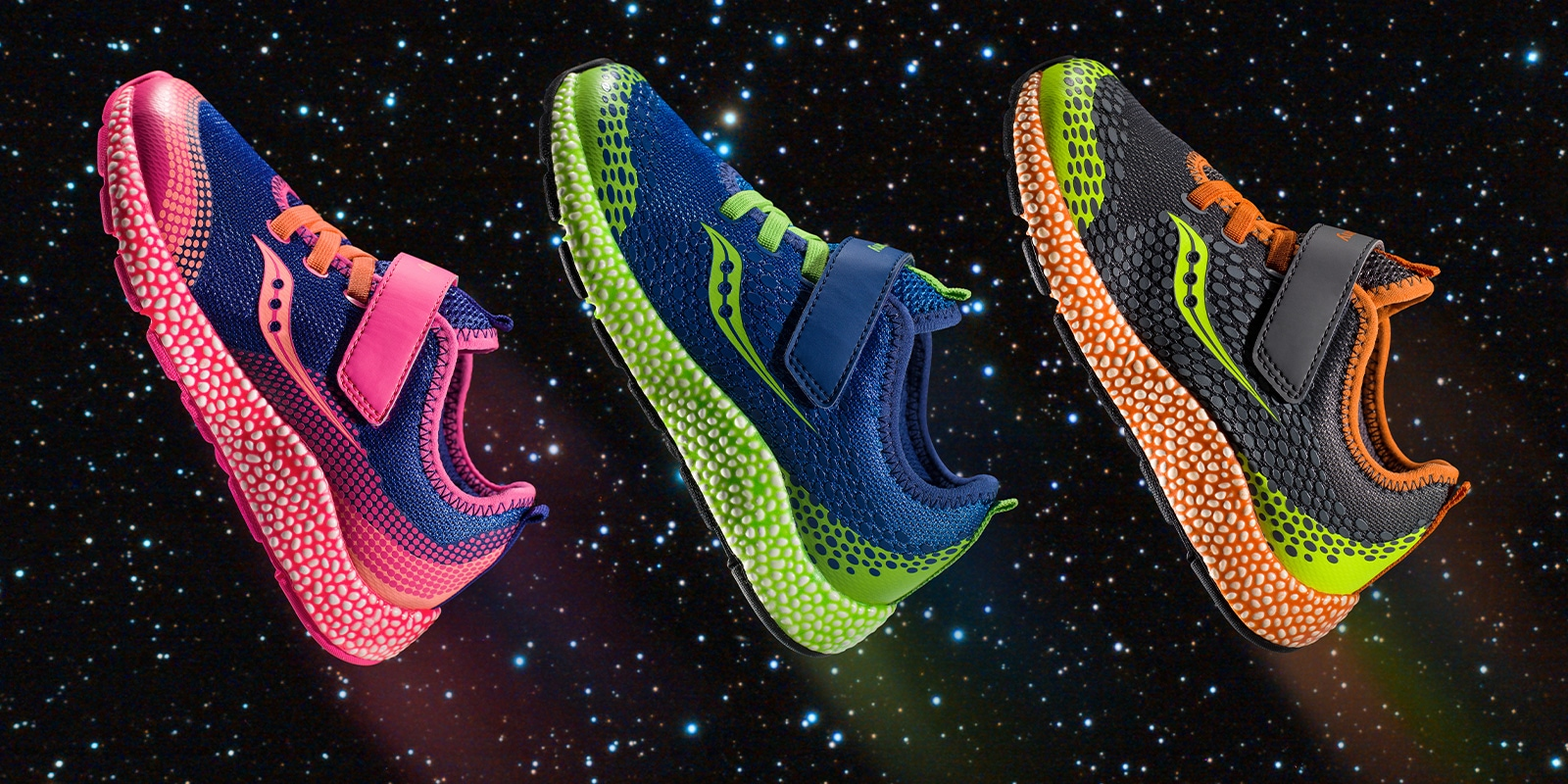 3 Saucony kids Astofoam shoes in outer space!