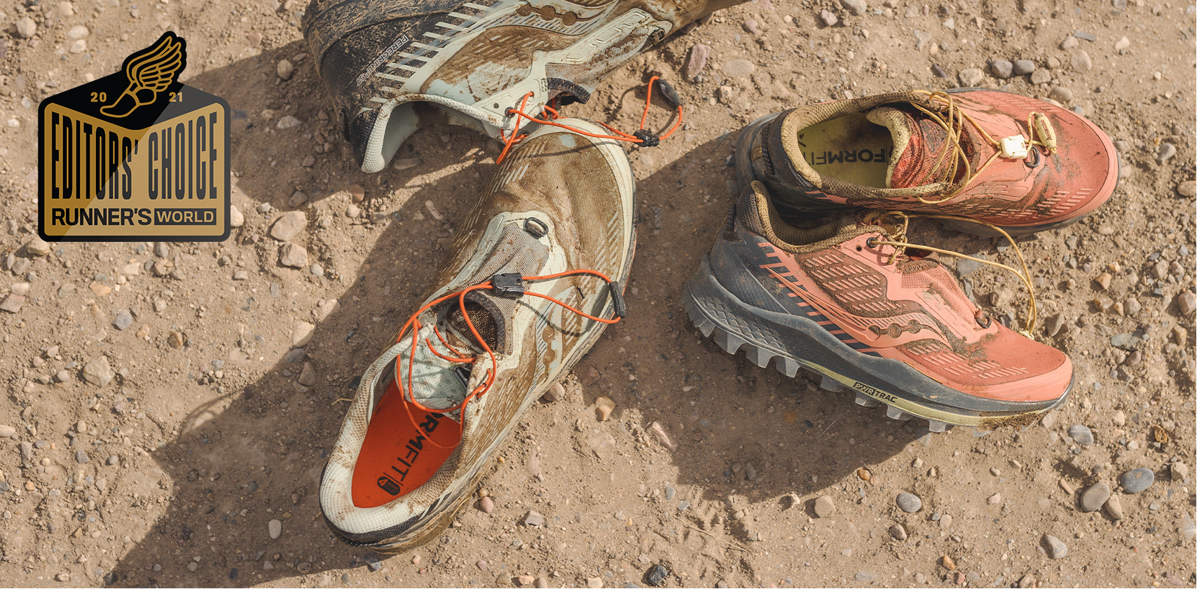 Peregrine shoes in the dirt. Editors choice - Runner's world.