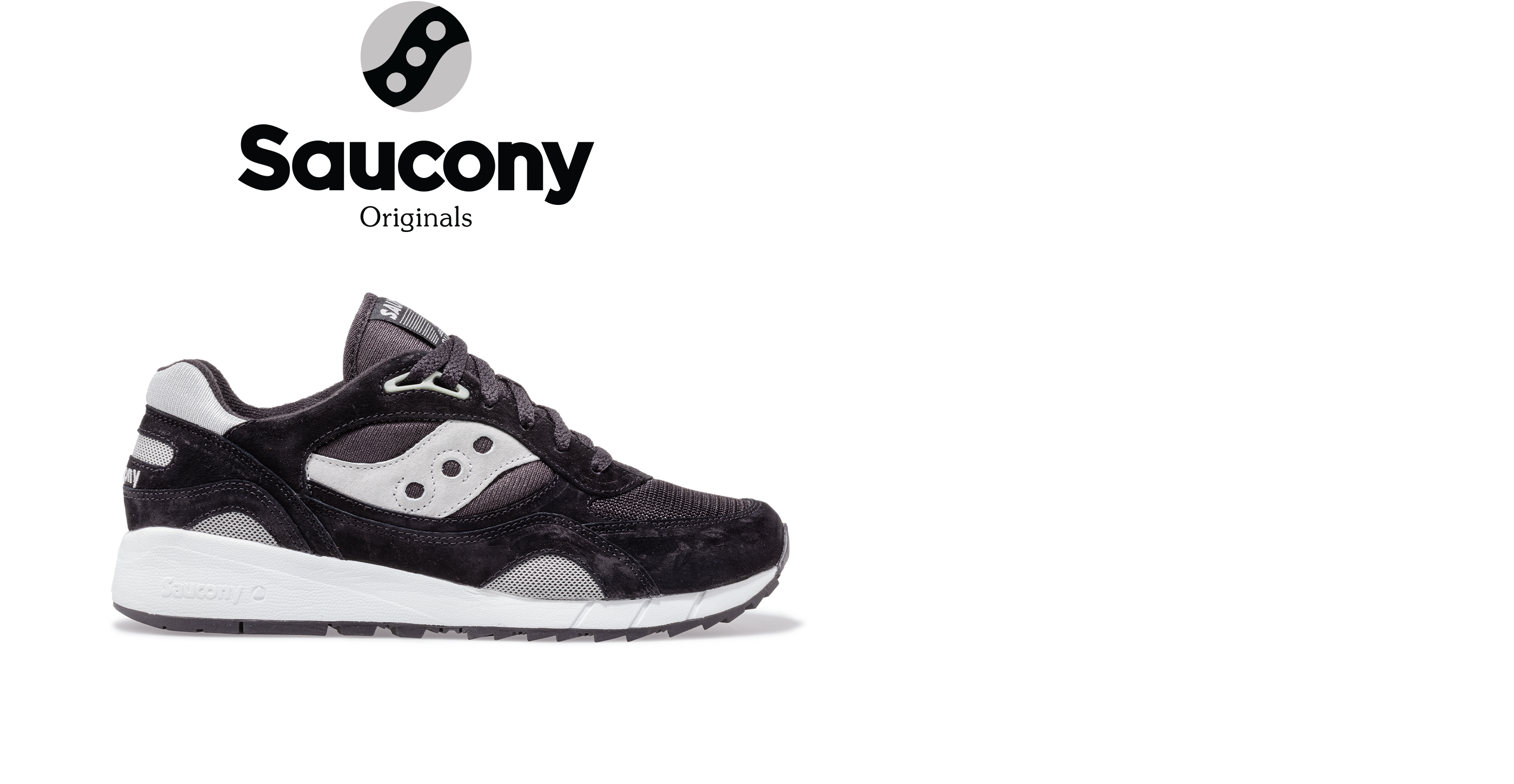 Saucony Shadow 6000 in black with gray accents.