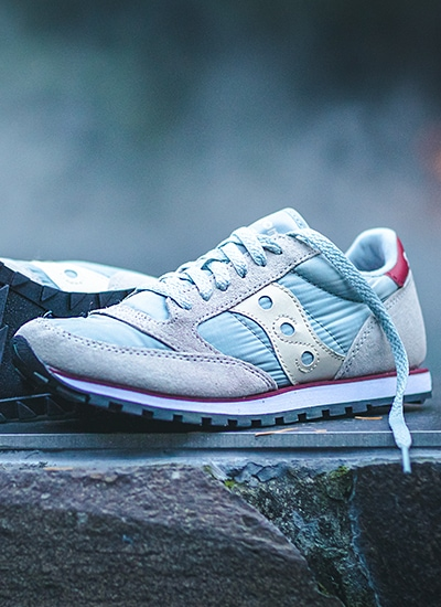 Saucony Jazz Shoe in Silver and Light Blue