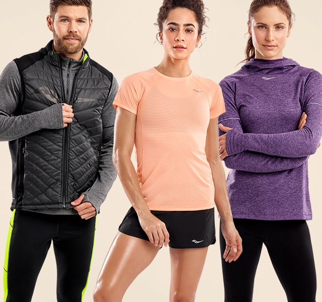 People posing with new Saucony apparel