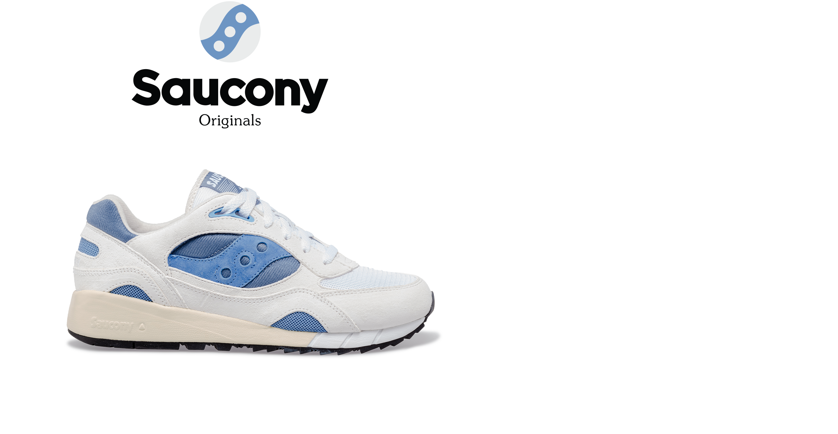 Saucony Shadow 6000 in white with blue accents.