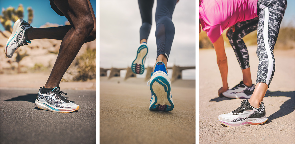 Triptych of runners' legs and feet wearing Endorphin shoes on- and off-road.