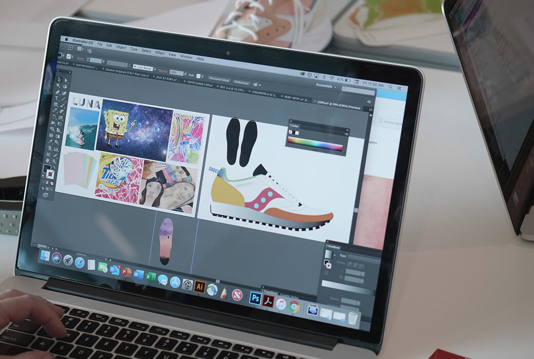 Adobe Illustrator session on a Mac showing a mood board and a shoe being designed.