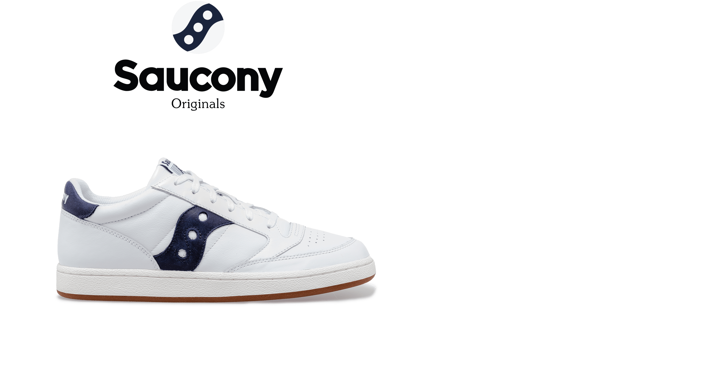 Saucony Jazz Court in white with blue accents.