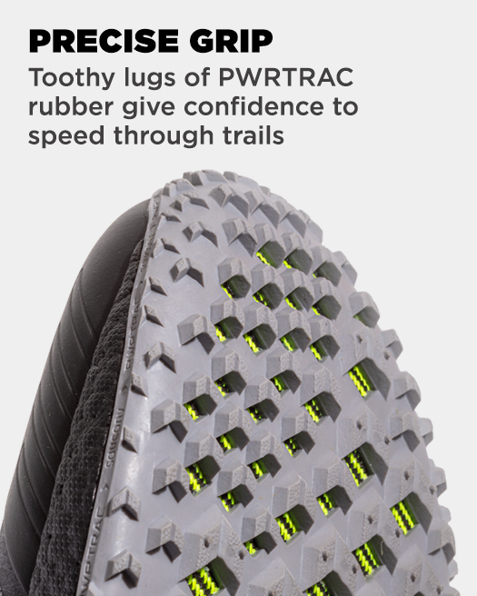 PRECISE GRIP, Toothy lugs of PWRTRAC rubber give confidence to speed through trails