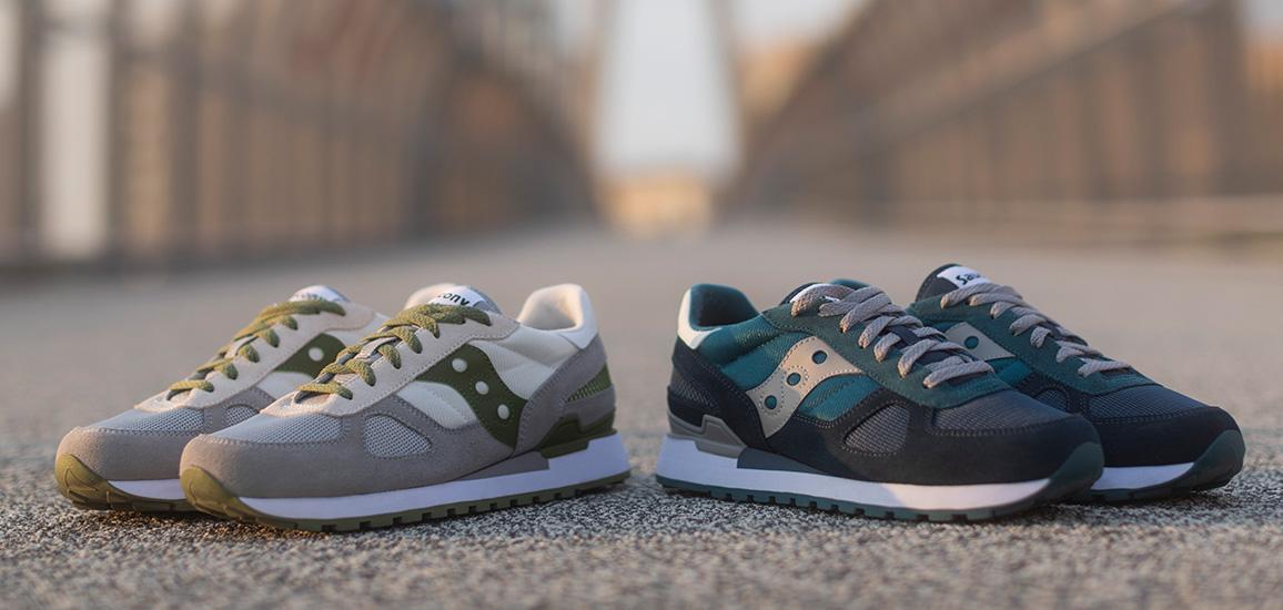 Original green, and original blue Shadow shoes.