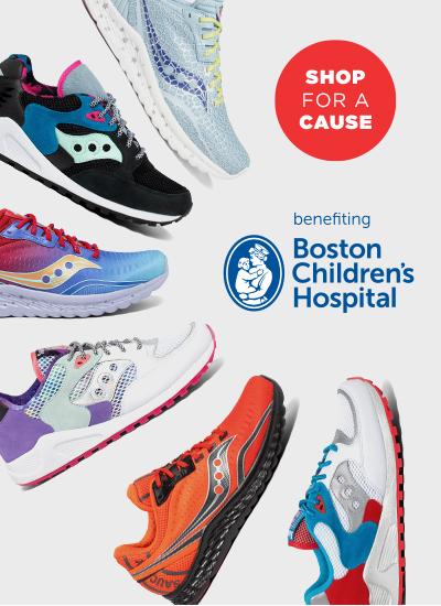 Shoes radiating round the Boston Children's Hospital logo.
